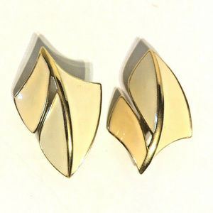 Trifari Signed Earrings Gold Tone Enamel Clip On